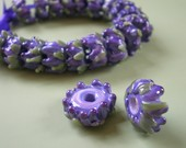 Whirl of Lavender Buds Glass Bead with French Lavender Sachet Buds Set of 10