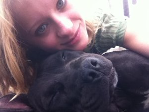 Amy With Her Calm Pitbull Lucie