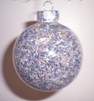 homemade Christmas ornament with lavender flower