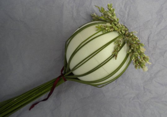 Folding over Lavender Stalk Around Ball Form